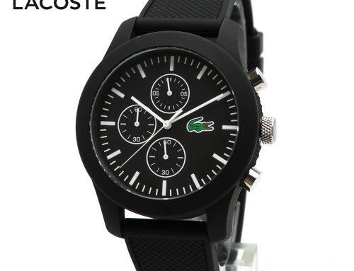 LACOSTE ラコステ L.12.12 2010821 腕時計 クロノグラフ 多針 アナログ メンズ ウォッチ 防水 軽量 ブラック 黒色ラバーベルト
