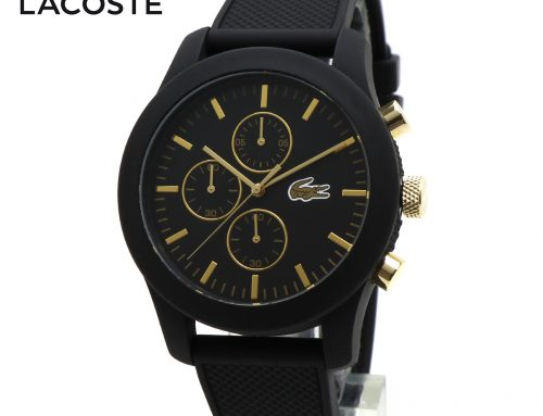 LACOSTE ラコステ L.12.12 2010826 腕時計 クロノグラフ 多針 アナログ メンズ ウォッチ ブラック ゴールド ラバーベルト 黒色 金色