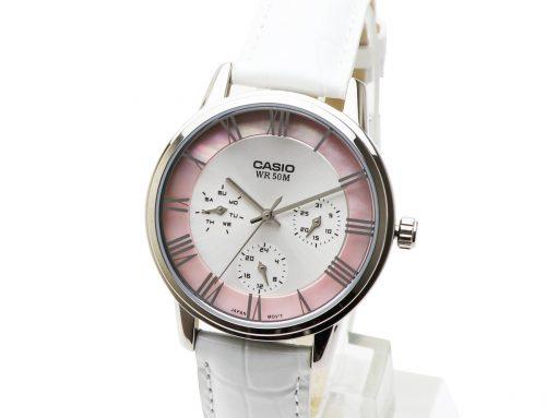 CASIO(カシオ)デイデイトカレンダー アナログ ウォッチ LTP-E315L-7A1V ピンク パール ホワイト 白色 レザーベルト