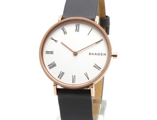 SKAGEN スカーゲン 腕時計 SKW2674 シンプル アナログ グレー  ホワイト ダイヤル  Hald ハルド 革ベルト レザーベルト ローズゴールド